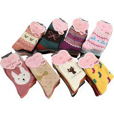 Mujeres invierno espesar caliente de lana de conejo calcetines femeninos térmica copo de nieve patrón animal de la historieta calcetines de algodón mujer calcetines 5 par/lote