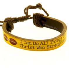 Leather Bracelet I can do sports football from Forgiven Jewelry
