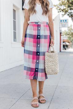 DIY: button front midi skirt