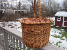 Vintage Yarn/Sewing basket with cotton red floral by PriorMemories, $75.00