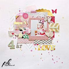 #papercraft #scrapbook #layout. Scrapbook.com- a playful and bright layered layout perfect for any age. Made using the Flea Market collection by Crate Paper.