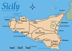 Map of Sicily Showing Train Lines, Beaches, and Cities