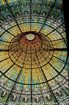 Destinations Planet: Stained Glass Ceiling in the Palace of Catalan Music, Barcelona, Spain