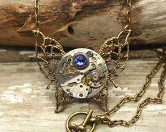 TIME FLIES Steampunk Watch Necklace 21 Jewels Cobalt Blue | Etsy Steampunk Watch, Peridot Stone, Personalized Birthday Gifts, Watch Necklace, Steampunk Necklace, Halloween Outfits, Cobalt Blue, Antique Brass, Swarovski Crystals