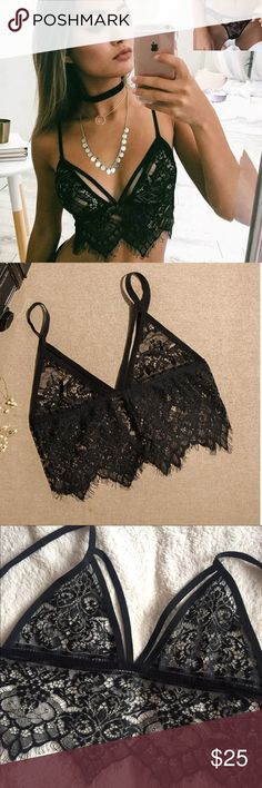 🌸Sexy Black Eyelash Lingerie Set🌸 Perfect for valentine's!!! Beautiful in lace and nylon. Set comes with brallette and panty. Measurements in the last pic. Available in small (cups A-B), medium (cups B-small C), large (cups C), x-large (cups C-smaller D). Coverage of breast area depends on cup size. ❌❌PRICE FIRM unless BUNDLED❌❌ Intimates & Sleepwear Bras