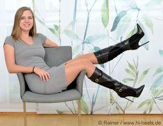 Schwarz Boots - 4859 - Vitello-Camoscio nero - High Heels by FUSS Schuhe Drapery Buying Tips Drapery Pantyhose Outfits, Pantyhose Heels, Heels Outfits, Thigh High Boots, High Heel Boots, Knee Boots, Heeled Boots, Botas Sexy, Riding Boot Outfits