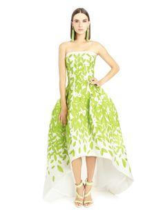Oscar de la Renta Leaf Embroidered Silk Gazaar Gown
