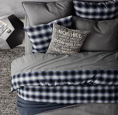 Reed Plaid & Garment-Dyed Vintage Cotton Bedding Collection