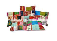 Set Of 5 patchwork kantha Pillow 5 pc indian silk sari Kantha Decorative throw Pillow #kanthapillows #kanthacushion #indianpillows #handmadecushion #floralpillows #extralargepillows #24inchescushion #16inchescushion #16inchespillow #indiancushion #floorcushion #sofacouchpillows #patiochaircushion #bedroomcushion #squarepilllows #16inchescushion