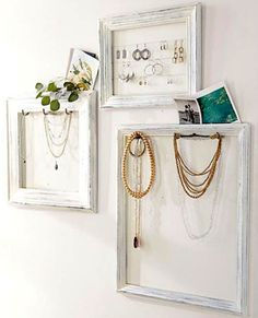 DIY: Jewelry Display Frames - Pottery Barn Knockoff - using old frames, cup hooks, paint & cording, she turned unused frames into something she could display & organize her jewelry. Jewellery Storage, Jewelry Organization, Jewellery Display, Diy Jewellery, Organization Ideas, Necklace Storage, Necklace Display, Earring Storage, Earring Display