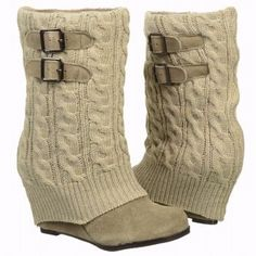 Suede and knit casual mid-calf wedge boot style, perfect with any outfit, jeans or dresses.