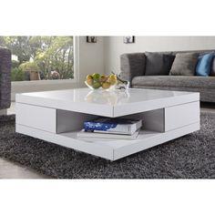 vierkante hoogglans witte salontafel
