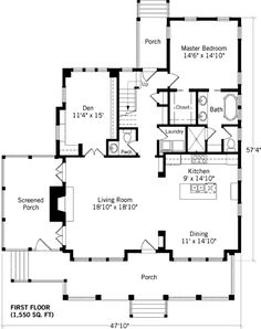 I like the downstairs floor plan. with closed off den. Master bathroom has nice layout as well. Like the Den off the living room for library and billiards House Plans One Story, Barn House Plans, Dream House Plans, Modern House Plans, Cabin Plans, Small House Plans, House Floor Plans, Bungalow House Plans, Ranch House Plans