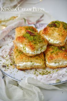 Mini Kunafa Cream Puffs Eid Dessert Recipes, Sweets Recipes, Indian Desserts, Indian Snacks, Easy Cake Recipes, Indian Sweets, Indian Dishes, Party Desserts, Rice Recipes