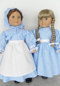 Colonial Farm Girl Doll Dress, Bonnet, Apron - Prairie, Pioneer Clothing - Felicity, Kirsten - Country Chic - Blizzard Blue  - 1006. $42.99, via Etsy.