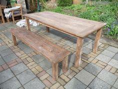 Teak tafel oud hout 220 x 100 afbeelding 10