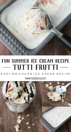 This Tutti Fruitti no churn ice cream recipe is a must have this summer! So easy to make and the kids can help! | www.mydiyenvy.com