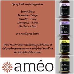 """Ameo Essential Oils spray bottle recipes! This one is the Stinky Shoes Spray! ~~ To order oils or become involved in this once in a lifetime opportunity go to Kylestephenson.myameo.com and click/tap the """"enroll"""" button on the top right of the screen! ~~ Keywords: doTERRA, Young Living, clinical grade, Zija, CERTI-5, natural, healthy, vegetarian, blends, rosemary, lavender, lemongrass, tea tree"""
