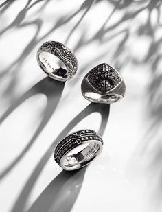 Black diamonds ignite unique men's rings with daring distinction. #jewelerstradeshop #fathersday