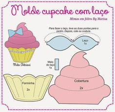 cupcake cut out paper piecing Felt Diy, Felt Crafts, Diy And Crafts, Paper Crafts, Felt Patterns, Applique Patterns, Stuffed Toys Patterns, Template Cupcake, Crown Template