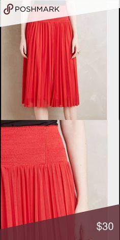 Pleated Midi Skirt Elastic waist midi skirt Anthropologie Skirts Midi