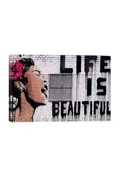 HauteLook | Banksy Street Art Favorites: Life Is Beautiful by Banksy Canvas Print