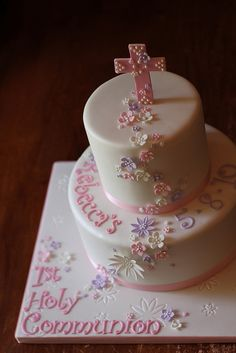 Rebecca's 1st Holy Communion cake by Andrea's SweetCakes, via Flickr