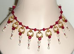 Hand Made Antique Style Necklace and Earrings Faux Pearls from phalan on Ruby Lane