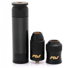 Comp Lyfe Able Style Mechanical Mod + AV Torpedo Combo Style RDA Kit - Black, Brass + Carbon Fiber, 1 x 18650, 24mm Diameter