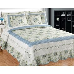 Add a sophisticated style to your bedroom or guest room with this Mayflower Dawn Quilt Set featuring shabby blue floral chintz on an eggshell base. The twiner in stark white alongside the blue plaid breaks the monopoly creating a refinement beyond compare