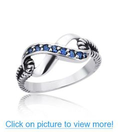 .925 Sterling Silver 14K White Gold Plated Blue Sapphire Color CZ Infinity Ring Engagement Ring For Women
