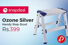 Snapdeal is offering 53% off on Ozone Silver Handy Step Stool Rs.399. Width- 29 cm, Height- 31 cm. Kitchen Utility, Dimension: W- 290 mm, H- 310 mm, Features: Multipurpose stool for daily household activities, Easy to keep and easy to carry-space saver, Made from High quality Can take loads upto 150 kg, With step on both sides, With Slip-resistant molded feet.  http://www.paisebachaoindia.com/ozone-silver-handy-step-stool-rs-399-snapdeal/