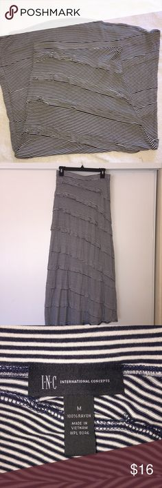"""Maxi Skirt ❣️ In good condition! Black and white striped. Size Medium. Waist 14 1/2"""". Length 38"""". Feel free to make me an offer! No trades ❌No modeling INC International Concepts Skirts Maxi"""