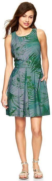Gap Palm print denim dress on dress @roressclothes closet ideas #women fashion outfit #clothing style apparel