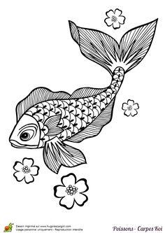 Coloriage poisson carpe koi sur Hugolescargot.com - Hugolescargot.com