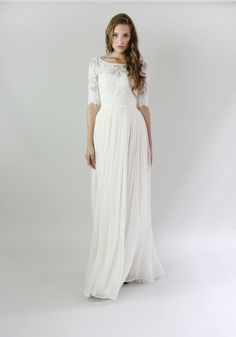 Leanne Marshall wedding dress with three quarter sleeves