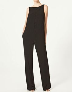 Zara open back jumpsuit Zara Jumpsuit, Jumpsuit Dress, Black Jumpsuit, Fashion Pants, Fashion Outfits, Womens Fashion, Iranian Women Fashion, Mein Style, Cozy Outfits