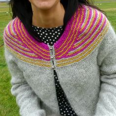 Hélène Magnússon - Knitting news from Iceland: Lopi Affection Icelandic sweater Wow!! Love the pink and yella!