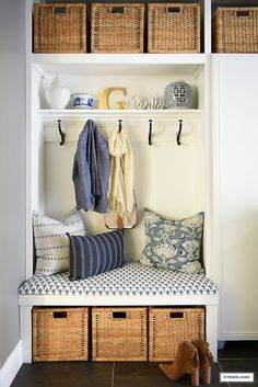 Built In Bench, Bench With Storage, Storage Shelves, Room Closet, Closet Redo, Hall Closet, Laundry Sorting, How To Organize Your Closet, Mudroom Laundry Room