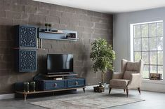 Weltew Boston Wandmeubel Blauw – Tv stands – Tv Units Welcome Home Tv Cabinet Design, Tv Unit Design, Tv Wall Design, Black Wall Decor, Tv Wall Decor, Living Furniture, Luxury Furniture, Boston Furniture, Living Room Tv