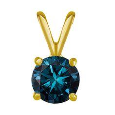 1.00 Karat blauer Diamantanhänger aus 750er Gelbgold bereits ab 3299 Euro bei www.diamantring.be