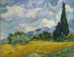 """Vincent van Gogh """"Wheat Field with Cypresses"""" 1889 (Met Museum NY 73x93cm) (via Gandalf's Gallery @Tony Wang 8677782670 2001-04)"""