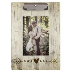 Add your photo rustic wood texture clipboard - vintage wedding gifts ideas personalize diy unique style
