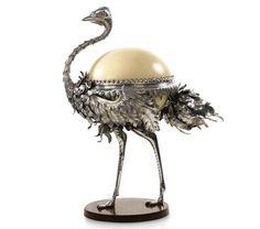 A Fabergé sculptural bonbonnière in the form of an ostrich, workmaster Julius Rappoport, St Petersburg, circa 1895