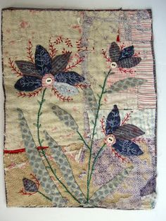 Thread and Thrift: Purple flowers - love the patchwork background & it really seems to be wimsical flowers Embroidery Applique, Embroidery Stitches, Machine Embroidery, Small Quilts, Mini Quilts, Sewing Art, Sewing Crafts, Art Tribal, Creative Textiles