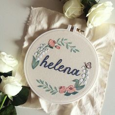 Lírios do Vale e borboletas para Helena  #maternity #exclusive #clubedobordado ----- That is some beautiful embroidery!! Wow!