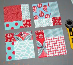 Dissapearing 9 Block Pattern Tutorial for Quilting.  Love the aqua and red colors!