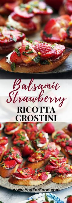 Looking for a quick and easy summer appetizer or snack? This recipe features a delicious combination of fresh strawberries, tangy balsamic vinegar, and creamy ricotta served on toasted bread. #yayforfood | #appetizer | #snacks | #strawberries | #crostini | #ricotta | #easyrecipes | #recipeoftheday | #summerrecipes | #strawberryrecipes