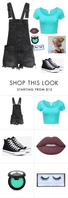 """Untitled #2"" by officialjakeline ❤ liked on Polyvore featuring H&M, J.TOMSON, Converse, Lime Crime and Huda Beauty"