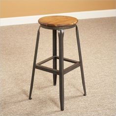 Abbey Backless Stool in Weathered Brown and Steel